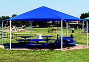 dog park shade structure hexagons